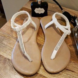 Sz. 10 white Goldtoe rhinestone encrusted sandals